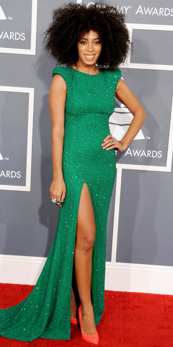 021013-solange-350 knowles emerald green gown high slit idk high slit bad hair
